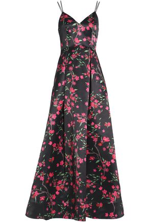 ALICE + OLIVIA Marilla floral-print duchesse satin gown