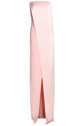 HALSTON HERITAGE Strapless wrap-effect crepe-satin gown