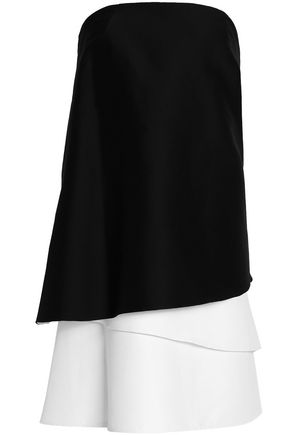 HALSTON HERITAGE Strapless draped cotton and silk-blend top