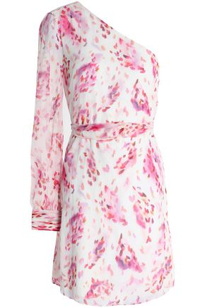 RACHEL ZOE One-shoulder printed silk-georgette mini dress