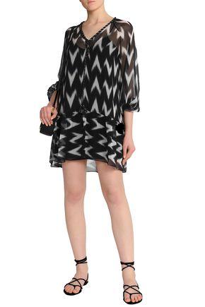 RACHEL ZOE Printed silk-georgette mini dress