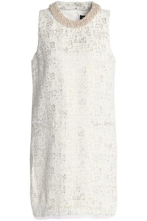 RACHEL ZOE Faux pearl-embellished metallic jacquard mini dress