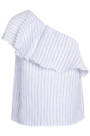 ALICE+OLIVIA Calla one-shoulder ruffled striped linen and cotton-blend top