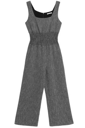 MAJE Shirred cotton-blend jacquard wide-leg jumpsuit