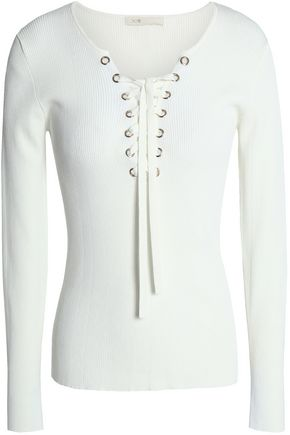 MAJE Lace-up stretch-ponte top