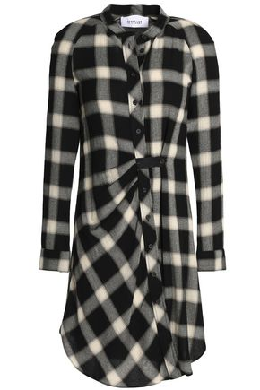 DEREK LAM 10 CROSBY Gathered checked flannel shirt dress