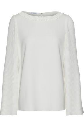OSCAR DE LA RENTA Plissé-paneled stretch-silk blouse