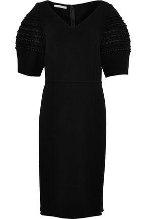 OSCAR DE LA RENTA Lace-trimmed virgin wool-blend dress