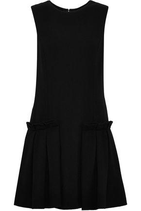 OSCAR DE LA RENTA Pleated virgin wool-blend mini dress