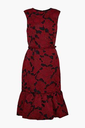 OSCAR DE LA RENTA Belted fil coupé dress