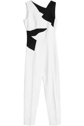 ANTONIO BERARDI Perforated two-tone crepe jumpsuit