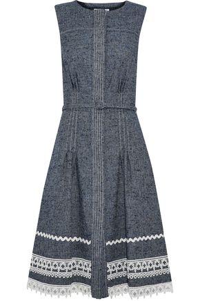OSCAR DE LA RENTA Belted lace-trimmed linen and silk-blend dress