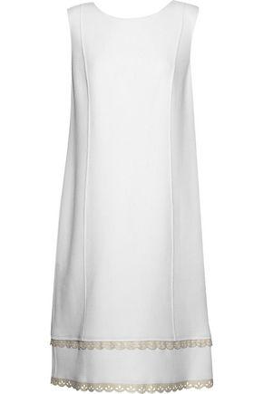 OSCAR DE LA RENTA Laser-cut faux leather-trimmed virgin wool-blend dress