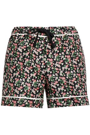 MONCLER Grosgrain-trimmed floral-print silk-twill shorts