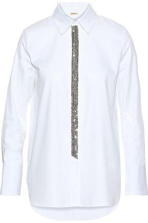 ADAM LIPPES Crystal-embellished cotton-poplin shirt