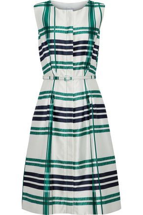 OSCAR DE LA RENTA Belted checked silk and cotton-blend dress