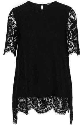 cotton-blend corded lace top