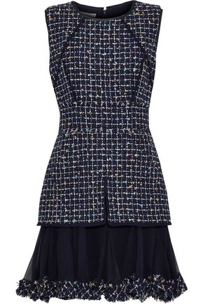 OSCAR DE LA RENTA Silk georgette-paneled sequined bouclé-tweed dress