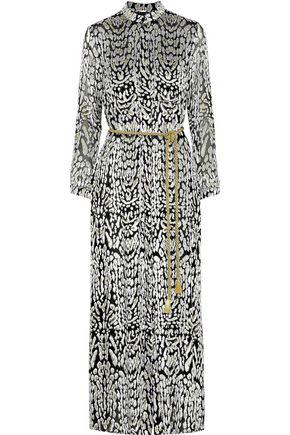 ADAM LIPPES Belted metallic fil coupé chiffon maxi dress