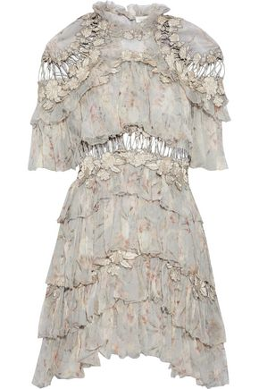 ZIMMERMANN Appliquéd lattice-trimmed tiered floral-print silk-georgette mini dress
