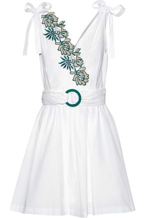 SANDRO Paris Belted embroidered cotton-poplin mini dress