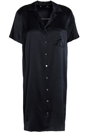 T by ALEXANDER WANG Silk-satin mini shirt dress