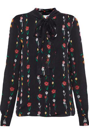 OSCAR DE LA RENTA Pussy-bow floral-print silk-georgette blouse