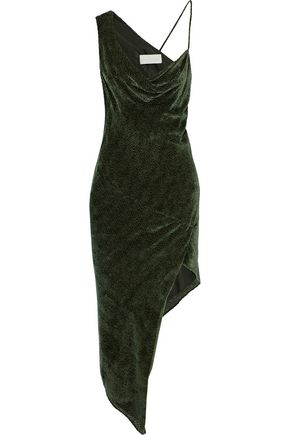 MICHELLE MASON Asymmetric draped flocked chiffon dress