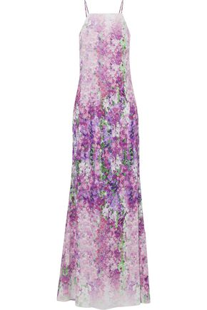 BADGLEY MISCHKA Pleated floral-print crepe gown