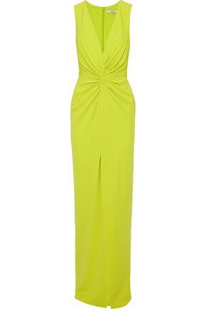 BADGLEY MISCHKA Twist-front stretch-cady gown ...