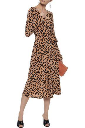 Diane Von Furstenberg Leopard Print Silk Wrap Midi Dress