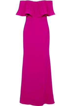 BADGLEY MISCHKA Pleated crepe gown