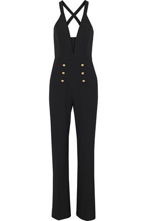 MICHELLE MASON Button-embellished cady jumpsuit