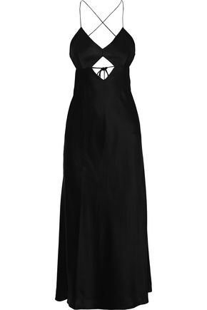MICHELLE MASON Cutout silk-satin midi slip dress