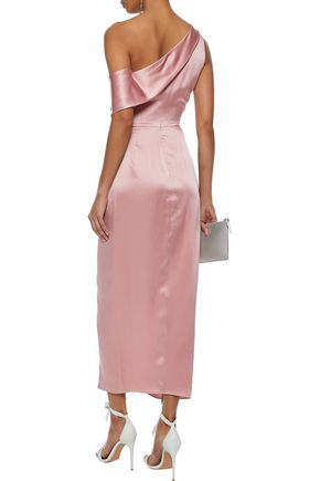 MICHELLE MASON One-shoulder cutout draped silk-charmeuse midi dress