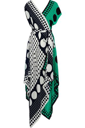 DIANE VON FURSTENBERG Asymmetric printed two-tone silk crepe de chine wrap dress