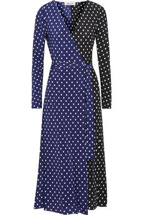 DIANE VON FURSTENBERG Two-tone polka-dot silk wrap midi dress