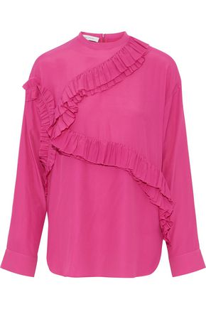 CEDRIC CHARLIER Ruffle-trimmed crepe de chine top