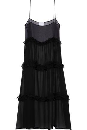 GEORGIA ALICE Ruffle-trimmed crinkled silk-gauze midi dress