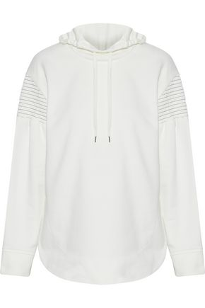 CEDRIC CHARLIER Shirred French cotton-terry hooded sweatshirt