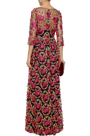 MARCHESA NOTTE Floral-appliquéd embroidered tulle gown