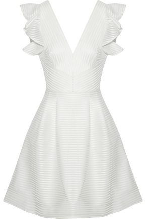 MARCHESA NOTTE Satin-appliquéd tulle mini dress