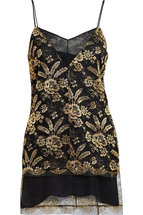 ADAM LIPPES Corded lace-paneled metallic embroidered tulle camisole