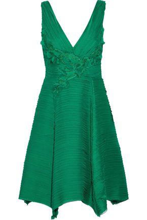 MARCHESA NOTTE Floral-appliquéd layered chiffon dress