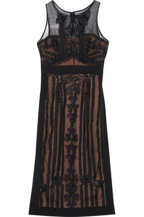 MARCHESA NOTTE Sequin-embellished appliquéd tulle dress