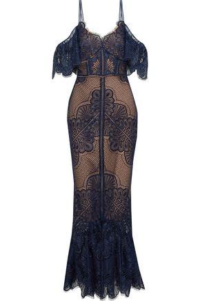 MARCHESA NOTTE Cold-shoulder fluted lace gown