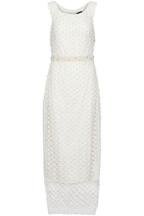 MARCHESA NOTTE Embellished lace midi dress
