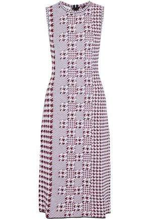 OSCAR DE LA RENTA Jacquard-knit virgin wool midi dress