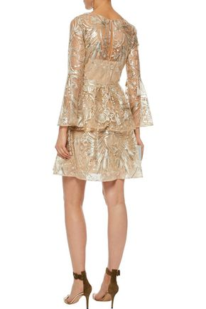 Sequin Embellished Ruffled Metallic Tulle Mini Dress by Marchesa Notte