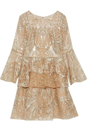 MARCHESA NOTTE Sequin-embellished ruffled metallic tulle mini dress
